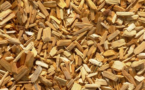 wood chips processed by wood chipper